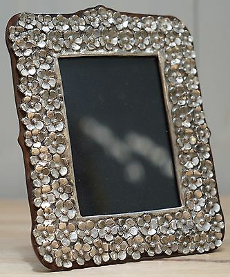 Lovely Sterling Silver And Mahogany Flower Detailed 925 Picture Frame Stunning