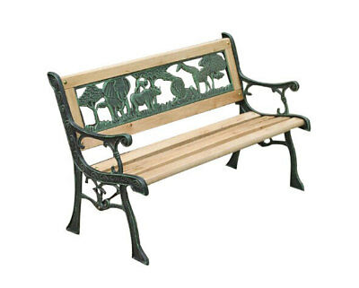 Charles Bentley Wooden Zoo Park Picnic Bench Jungle Design Garden Seat Chair