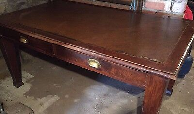 Antique Edwardian Wood and Leather Desk / Writing Table