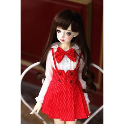 BJD Accessories Red Dotted Suspender Pleated Dress for 1/4 BJD SD MSD LUTS