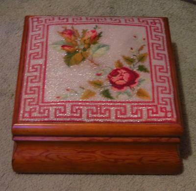 Antique Wood Sewing Box With Beadwork & Cross Stitch Lid