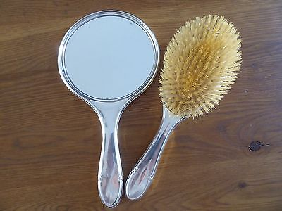 Victorian silver mirror and brush set