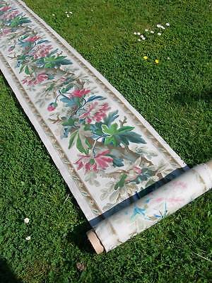 Stunning 5 metre panel hand printed 19th century French linen birds flowers