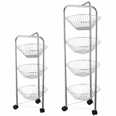 3 4 Tier Fruit Basket Vegetable Kitchen Storage Trolley Stand By Home Discount