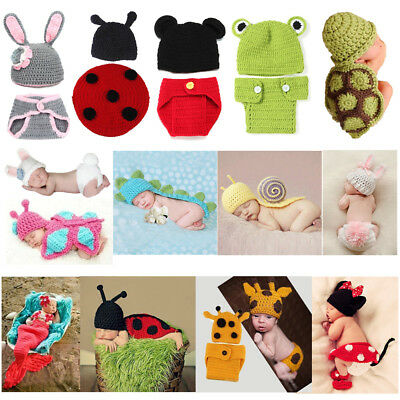 Newborn Baby Boys Girls Crochet Knit Costume Outfits Set Photo Photography Prop