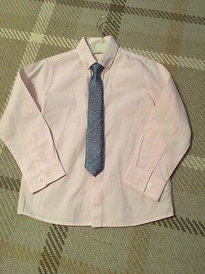 Boys Next Signature Pink Shirt And Pale Blue Tie Age 5