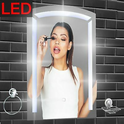 LED illuminated Bathroom Mirror Frameless Wall Mounted Vanity Touch | Barbican