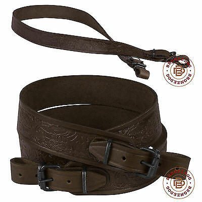 Leather Rifle Shotgun Sling Hunting Strap Embossed