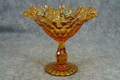 Vintage Amber Glass Compote Candy Dish