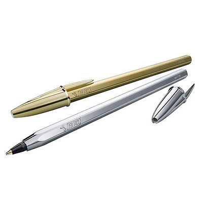 BiC Cristal Celebrate Ballpoint Pens - Gold & Silver *Free Additional Shipping