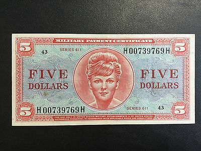 1964 Usa Military Payment Series 611 - 5 Dollars Note !