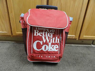 "Vintage Coca-Cola Red Soft Cooler ""Things Go Better With Coke Ice Cold""on Wheels"