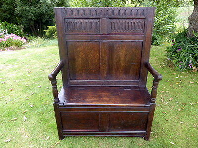 Country Oak Cottage Settle  With Box Storage 1760 Free Shipping To England