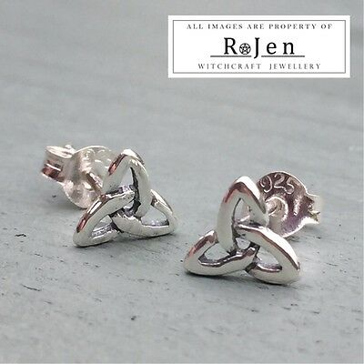 6mm Solid 925 Sterling Silver Celtic Triquetra Stud Earrings & Stamped Back