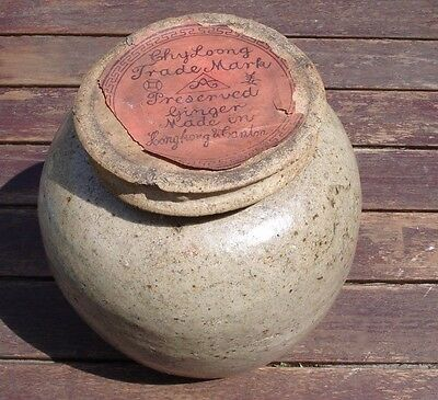 Chinese Stoneware Ginger Jar Antique 19th Century Original Contents  Paper Label