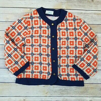 Vintage Sears Girls Size 7 Navy Blue & Orange Mod Button Front Sweater