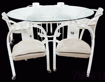 VMD1070 7 Piece Lucite and Glass Dining Table with 6 Chairs
