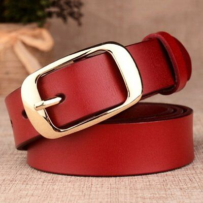 Vintage Genuine Leather Women Belt Metal Pin Buckle Lady Waistband Solid Color T