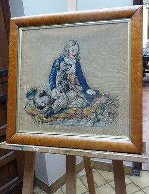 Needlepoint Boy With His  Greyhound Circa 1800  Free Shipping To England Only