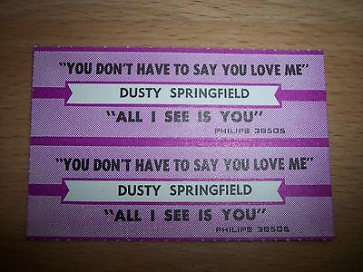 """2 Dusty Springfield All I See Is You Jukebox Title Strip CD 7"""" 45RPM Records"""