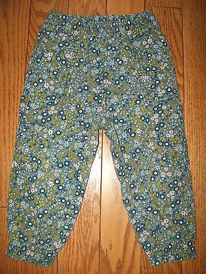 TEA COLLECTION baby girl's * BLUE FLORAL CANVAS JOGGER PANTS * sz. 18 24 mo.