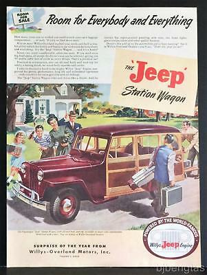 1946 Red Willys-Overland Jeep Woodie Station Wagon Vintage Print Ad