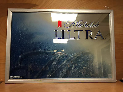 "Michelob Ultra Metallic Frame Mirror - 39"" x 27"" Wood Frame ~ NEW *PICK-UP ONLY*"