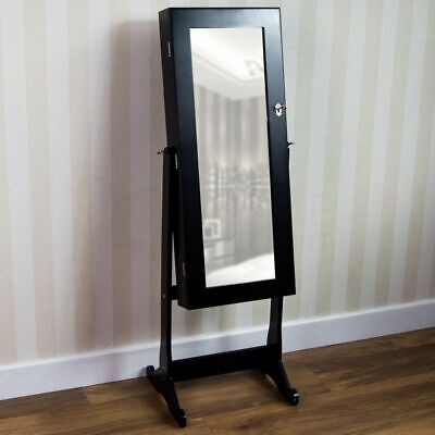 Nishano Jewellery Cabinet Mirror Floor Standing Storage Organiser Large Black