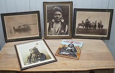 Selection Of Native American Indian Prints & Book Bronze Frame Edward S Curtis