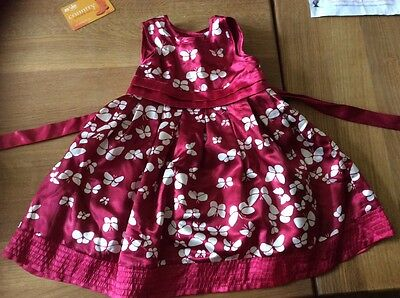 Monsoon red butterfly party dress age 6-12 months