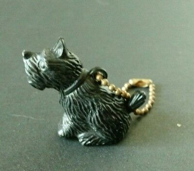 VINTAGE Plastic Movable Black SCOTTIE DOG Keychain Charm Mouth OPENS & Closes
