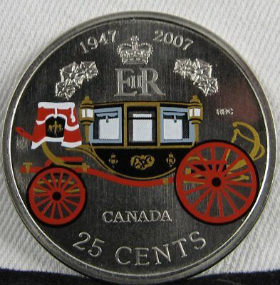 2007 Canada CH BU 25 Cents Wedding Anniversary of the Queen Coin AD271