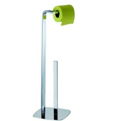 Free Standing Polished Chrome Steel Toilet Roll & Spare Paper Holder | Kingston
