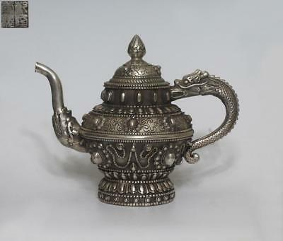 Exquisite Chinese Tibet Silver Teapot Qianlong Marked (072)