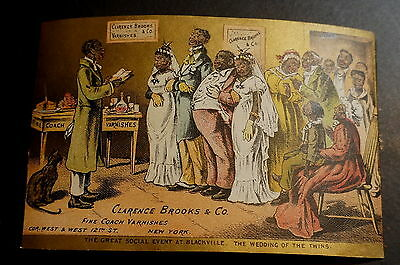 Black Americana Twins Wedding 1800's Trade Card Lithograph Litho Advertising