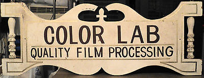 Vintage Wood Outside Store Display Sign ColorLab Film Processing