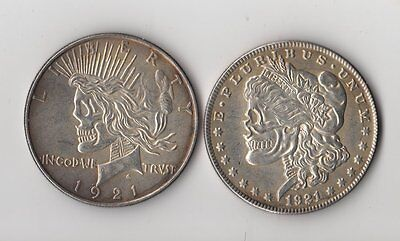 1921 Morgan/Peace Dollar Two Heads Hobo Nickel Two Face Zombie Skull Coin