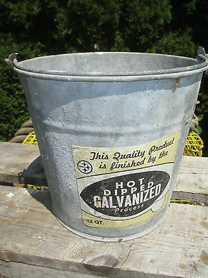 Vintage Galvanized Bucket with Handle and Original Label - STEEL LOGO
