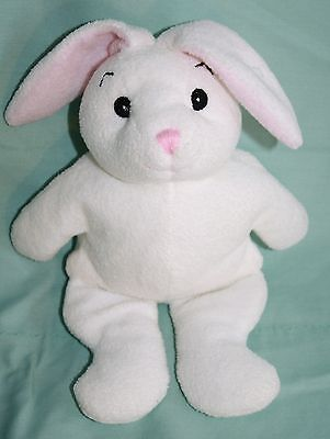 """White Stuffed Soft Toy EASTER BUNNY RABBIT 9"""" Jaag Plush Baby Rattle Pink Nose"""