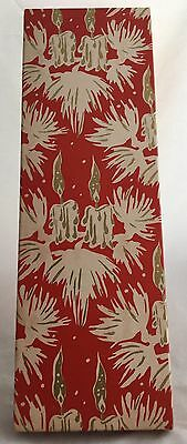 Vintage Mid Century Modern Christmas Candles Tie Scarf Red White Gold Gift Box