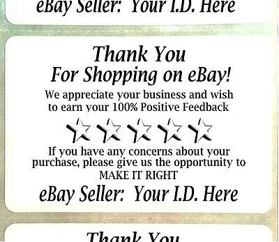 "500 Customized YOUR ID Thank You For Shopping On eBay FB Label Sticker 3"" x 2"""