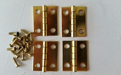 "4 vintage solid brass mini hinges  1"" X 3/4 ""   with screws (805)"