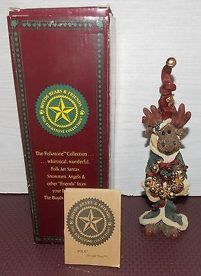 2 Vintage 1995 Boyds Folkstone Collection Boowinkle & Jingle Moose In Boxes