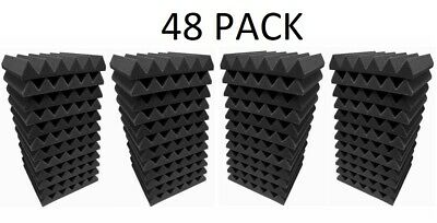 """Wedge Acoustic Foam Studios Sound Absorption Wall Panels 48 Pack -2""""X 12""""X 12"""""""