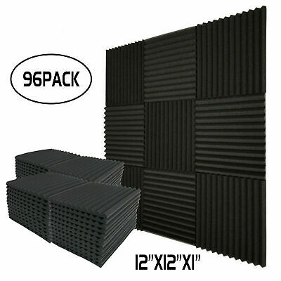 """Acoustic Foam Wedge Studios Sound Absorption Wall Panels 96 Pack -1""""X 12""""X 12"""""""