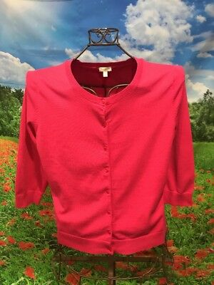 """Misses TALBOTS Bright Pink 3/4 Sleeve Button Down Cardigan Sweater Large 42"""""""