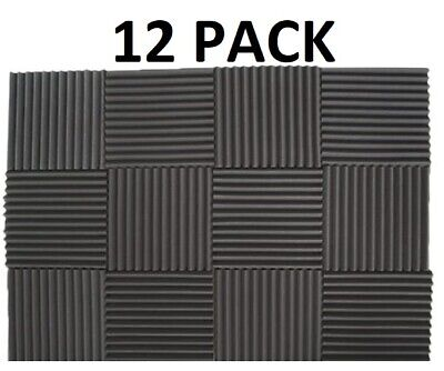 """Acoustic Foam Wedge Studios Sound Absorption Wall Panels 12 Pack -1""""X 12""""X 12"""""""