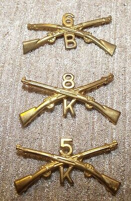 M1905  US Army Collar Pin 1st 2nd 3rd 5th 6th 7th 8th  Infantry Regiment gilt