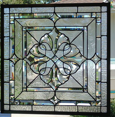 Stained Glass window Beveled hanging 23' square