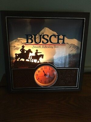 Light Up Busch Beer Sign With Working Clock
